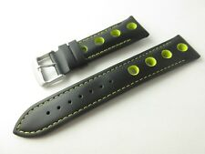 GRAND PRIX RALLY HALF PADDED SMOOTH BLACK LEATHER 20MM WATCH STRAP YELLOW DETAIL