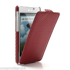Cover Custodia Rossa Carbon Look per LG Optimus L5 II E460 - Flip Cover