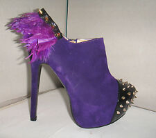 CHELISE CUSTOMISED ONE OFF PURPLE PUNK FEATHER SPIKE STUD DITA KITSCH BOOTS 5 38