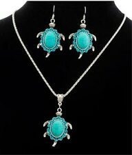 NEW TURTLE TURQUOISE CRYSTAL CHARM PENDANT SILVER NECKLACE MATCHING EARRINGS