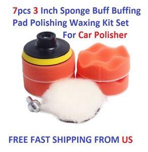 7pcs 3 Inch Sponge Buff Buffing Pad Polishing Waxing Kit Set For Car Polisher