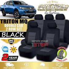 MITSUBISHI TRITON MQ DOUBLE CAB 2015-2018 BLACK CUSTOM FIT SEAT COVERS DUAL CAB