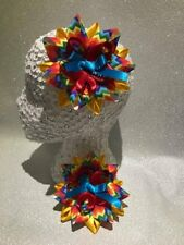 Pair rainbow colourful zig zag Harajuku romany hair bows bobbles