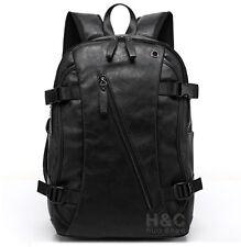 Men's Vintage Backpack School Bag Travel Satchel PU Leather Book Bag Rucksack