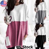 Womens Pocket Long Sleeve Tops Pullover Ladies Loose Baggy Blouse Jumper