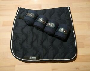 dicke blaue Dressurschabracke von EQuest Gr. WB + Bandagen - neuwertig