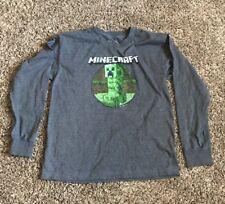 Youth XL 18/20 Long sleeve Minecraft Shirt Grey Creepers