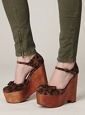 FREE PEOPLE JEFFREY CAMPBELL DAISY D PLATFORM WEDGE SHOES CHEETAH $168 8
