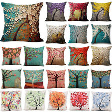 "18"" Vintage Art Cotton Flower Tree Pillow Case Cushion Cover Home Decorative AU"