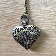 Heart Clock Necklace Pocket Watch Antique Style Bronze Pendant Vintage Retro