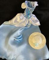 Gorgeous Vintage Powder blue and white Satin Barbie Dress Shoes hat