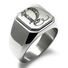 Stainless Steel Monogram Royal Initial Y Mens Square Biker Style Signet Ring