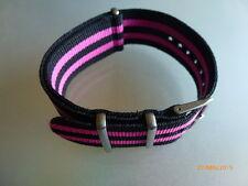 Relojes pulsera negro nylon rosa 24 mm OTAN banda hebilla textil