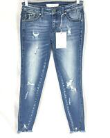 NEW Kancan Adell Low Rise Skinny Distressed Jeans 3/25 Stretch 25x25 Raw Hem NWT