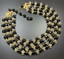 "Vintage Necklace Choker 13-15"" Gold Tone Black & Clear Lucite Multi Strand"