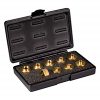 POWERTEC 71051 10 Piece Router Template Guide Bushing Kit   10 Solid Brass     8
