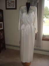 Talbots Ivory Lace Satin Bridal Nightgown Gown Peignoir robe Set Wedding Bust 38