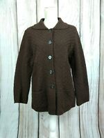 St Michael Vintage Chunky Knit Wool Blend Cardigan Collared Grandad Size 14 16