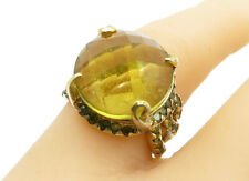 925 Sterling Silver - Faceted Citrine Gold Plated Cocktail Ring Sz 7 - R12784