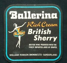 BALLERINA RICH CREAM BRITISH SHERRY 1970S ? WILLIAM ROBSON ROBIE MAC MAT COASTER