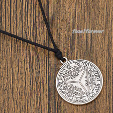 Retro Key of Solomon Round Pendant Necklace Talisman Amulet Jewellery Silver