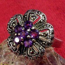 Ring AMETHYST MARKASIT ECHT 925 Silber Gothic Barock