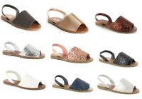 WOMENS LADIES SANDALS SUMMER MENORCAN SLING BACK FLIP FLOP BEACH SHOES UK 3 - 8