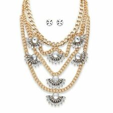PalmBeach Jewelry Crystal Fan Motif Necklace and Earrings Set in Gold Tone