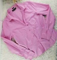 Jones New York pink no iron fitted blouse SIZE L wrinkle free career top (T)