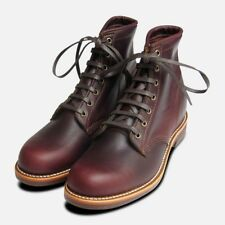 Chippewa Cordovan Leather Burgundy Lace Up Boots Vibram Sole