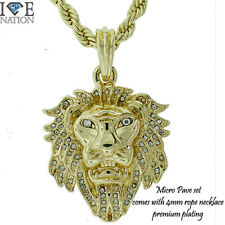 Micro Pave Lion Set, 4mm Rope Chain, Necklace 24 inches Premium 14kt Quality IP