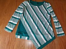 NEW WOMENS MIK GREEN WHITE STRIPED BLOUSE LONG SLEEVE SIZE LARGE L RAYON