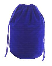Extra-Large Blue Velveteen Gusseted Flat Bottom Dice Bag w/ Dual Drawstrings