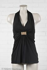 Trina Turk woman's top size P black gold tone metal accent halter V neck Sexy