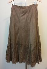 Womens Coldwater Creek Brown Faux Suede Die Cut Lined Skirt Size PS Petite Small