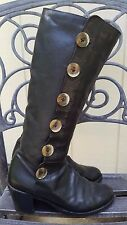 Fiorentini And Baker Black size 39 9 Womens Tall Leather Boots W/ Buttons Italy