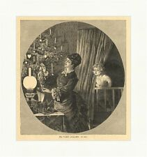 Too early awakes Christmas Tree Children Family Christmas Curtain Wood Engraving E 3885