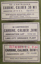 "M1 CARBINE WW2 NEW REPLICA 50 ROUND AMMO BOX - SET ""A"" WITH WRA, LC, & PC LABELS"