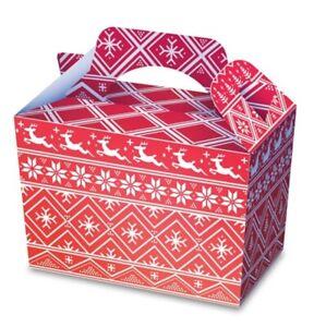10 x Nordic Food Boxes Christmas Festive Goodie Box Xmas Party Supplies