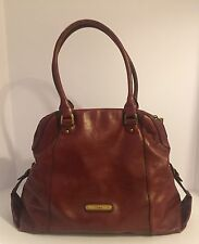 Cole Haan Wine Dome Leather Satchel Tote Shoulder Bag