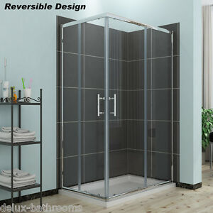 Shower Enclosure Corner Entry Cubicle Sliding Screen Glass Door Stone Tray+Waste