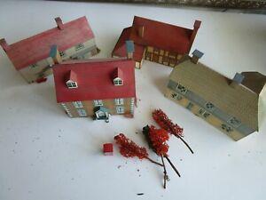 Lot of 4 HO Built Vintage Paper Cardboard Village House Buildings Business etc