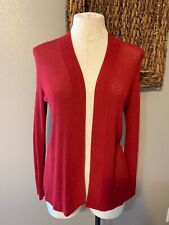Talbot's Burgundy Red Scarlet Open Weave Cardigan Sweater PM Petite Medium