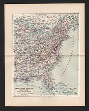 Landkarte map 1892: USA VEREINIGTE STAATEN ÖSTLICHES BLATT