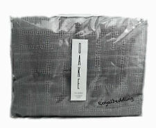 $199 OAKE WAFFLE PLAID COLLECTION COTTON QUEEN DUVET COVER FOG GRAY SILVER NEW