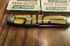 Antique Vintage  Keen Kutter  3-Blade Pocket Knife and 2 razor blade packs