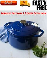 Lodge Enameled Cast Iron 5.5 Quart Dutch Oven, Cookware, Pots & Pans, Indigo
