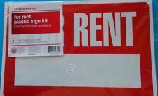 FOR RENT plastic sign kit with 1in black number