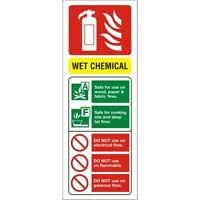 WET CHEMICAL FIRE EXTINGUISHER WORKPLACE HEALTH & SAFETY SIGNS 300mm x 150mm