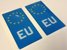 2x EU Euro Europe Gel 3D Number Plate Side Badge Badges for ALU METAL PLATES